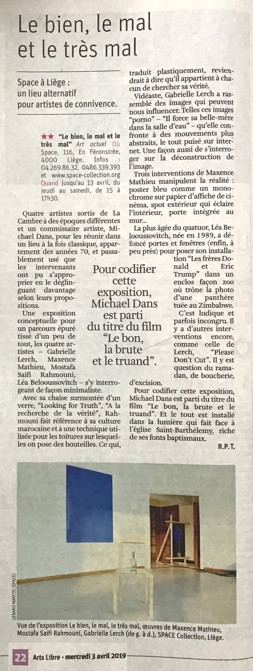 article LA LIBRE expo _ SPACE (1)